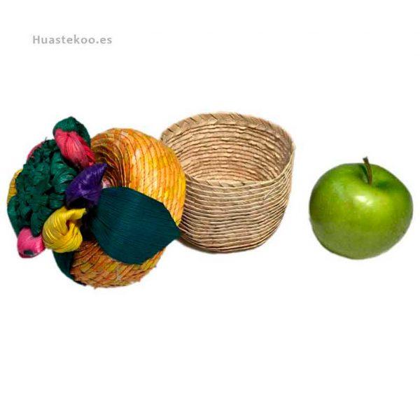 Joyero estuche artesanal mexicano de palma con flor de maíz - Tienda mexicana online - 400001 - 2