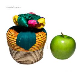 Joyero estuche artesanal mexicano de palma con flor de maíz - Tienda mexicana online - 400001