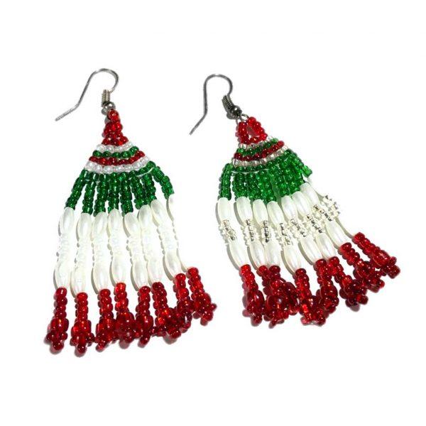 Pendientes mexicanos hechos a mano colores bandera mexicana - Tienda mexicana online - A110001