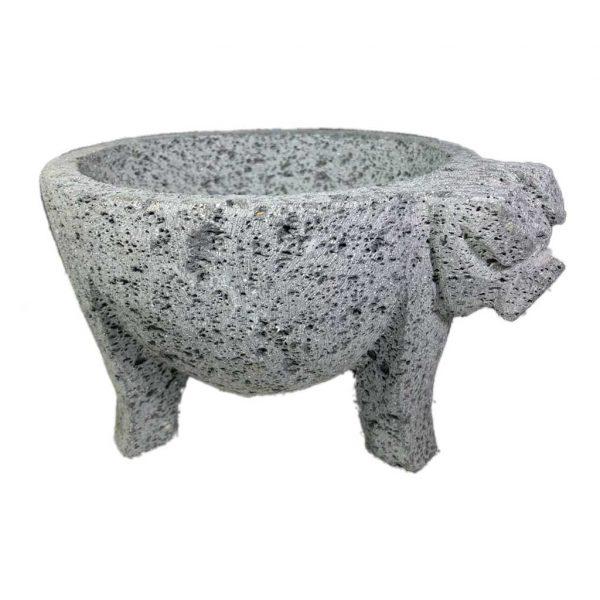 Molcajete (mortero) mexicano de 18cm de diámetro tallado a mano con piedra volcánica (basalto) - Tienda Mexicana Online - Huastekoo.es - 2