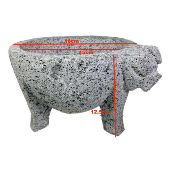 Molcajete (mortero) mexicano de 18cm de diámetro tallado a mano con piedra volcánica (basalto) - Tienda Mexicana Online - Huastekoo.es - Medidas
