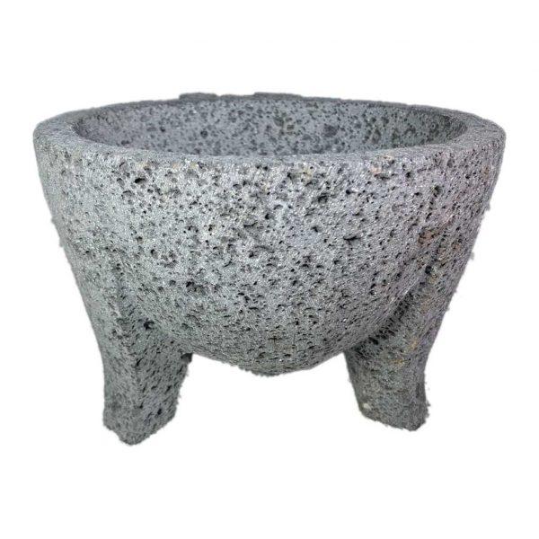 Molcajete (mortero) mexicano de 18cm de diámetro tallado a mano con piedra volcánica (basalto) - Tienda Mexicana Online - Huastekoo.es - 3