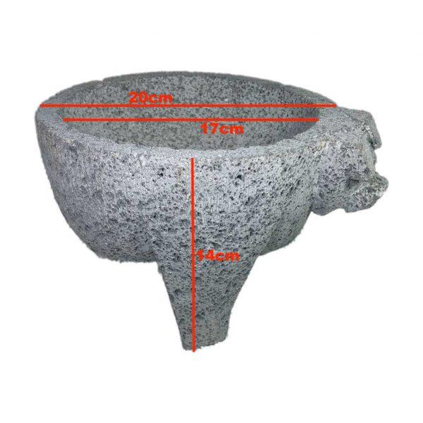 Molcajete (mortero) mexicano de 20cm de diámetro de piedra volcánica - Tienda Mexicana Online - Huastekoo.es - medidas