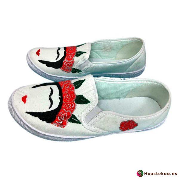 Zapatillas mexicanas pintadas a mano estilo Frida - Tienda Mexicana - Huastekoo.es - H00012 – 2
