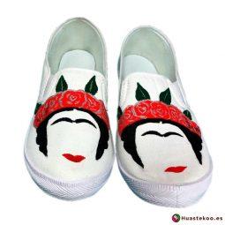 Zapatillas mexicanas pintadas a mano estilo Frida - Tienda Mexicana - Huastekoo.es - H00012