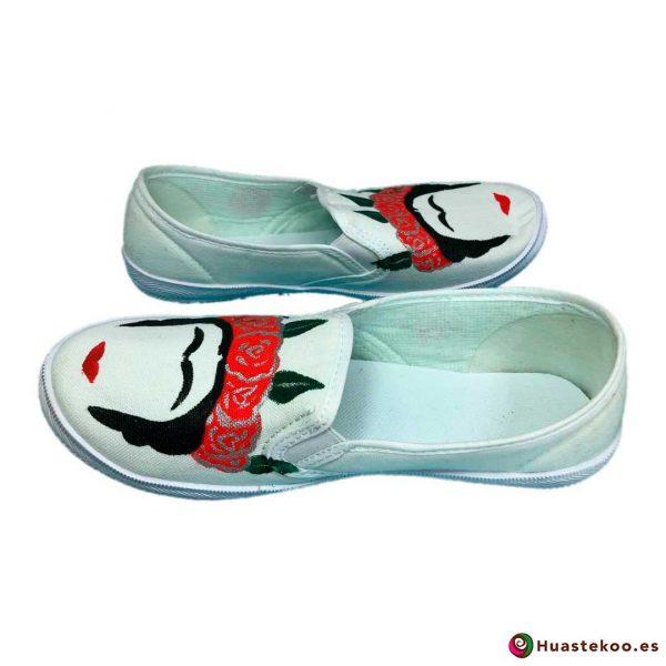 Zapatillas mexicanas pintadas a mano estilo Frida - Tienda Mexicana - Huastekoo.es - H00012 – 6