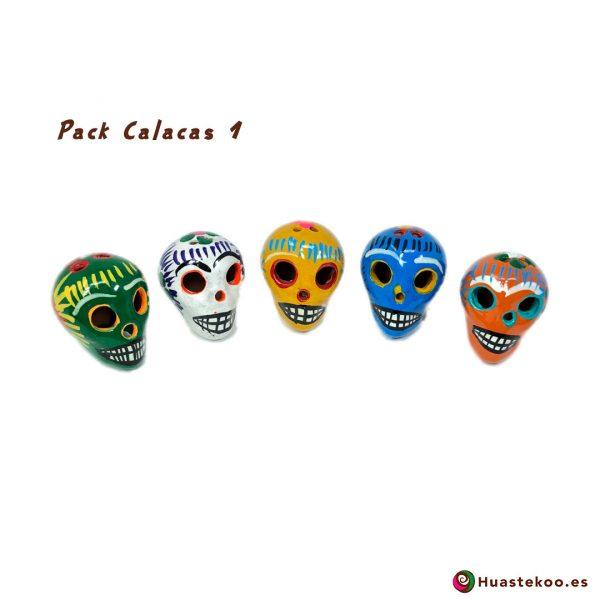 Calaveras Mexicanas Cerámica (Barro) - Tienda Mexicana Online - Huastekoo.es - Pack 1