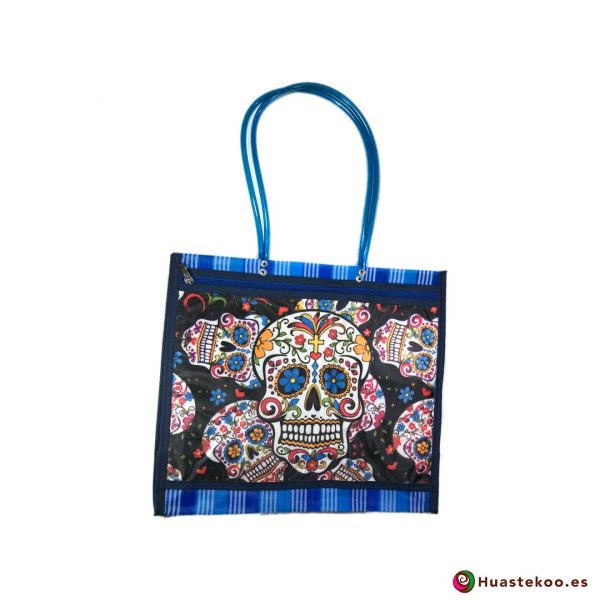 """Bolsa Mexicana de la Compra """"Calaveras"""" Blancas con Azul - Tienda Huastekoo España - H00158"""