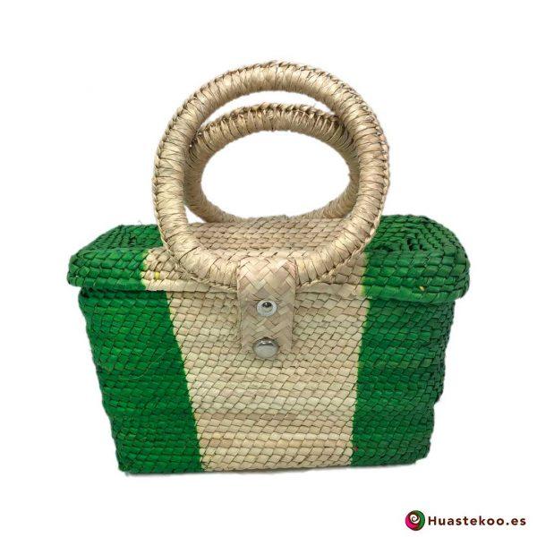 Bolso artesanal mexicano de palma natural y hojas de maíz hecho a mano - Tienda Mexicana Online - Huastekoo.es - H00278 - 2