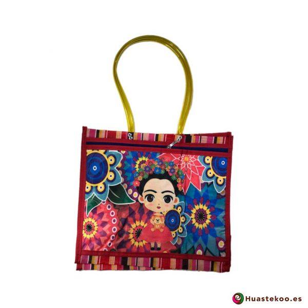 "Bolso de mercado mexicano ""Fridalia"" Rosa - Tienda Mexicana Huastekoo España - H00148"