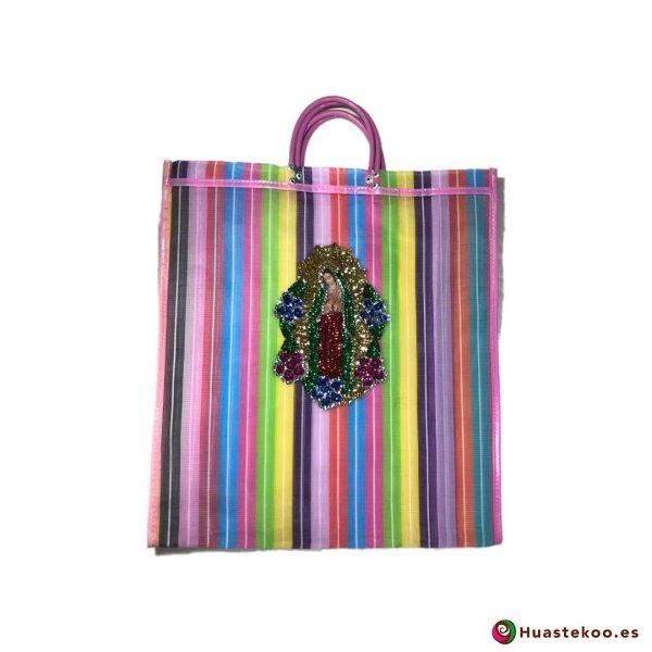 """Bolso Mexicano de Moda """"Guadalupe Lentejuela"""" Multicolor Rosa - Tienda Huastekoo España - H00180"""