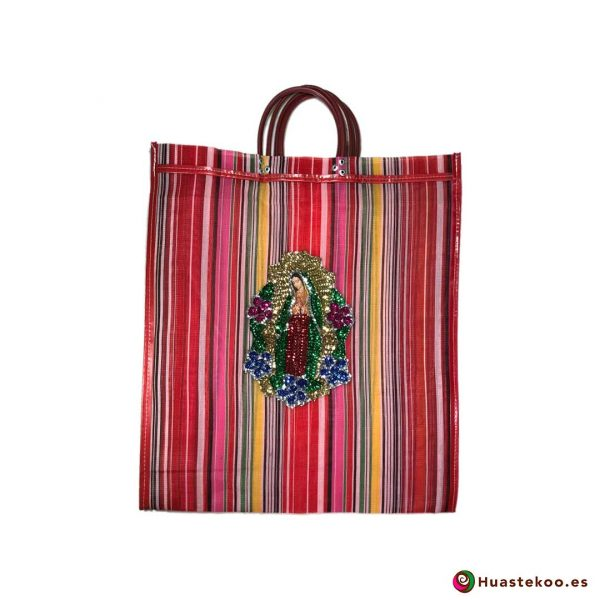 """Bolso Mexicano de Moda """"Guadalupe Lentejuela"""" Multicolor Rojo - Tienda Huastekoo España - H00181"""