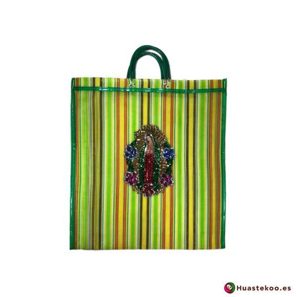 """Bolso Mexicano de Moda """"Guadalupe Lentejuela"""" Multicolor Verde - Tienda Huastekoo España - H00182"""