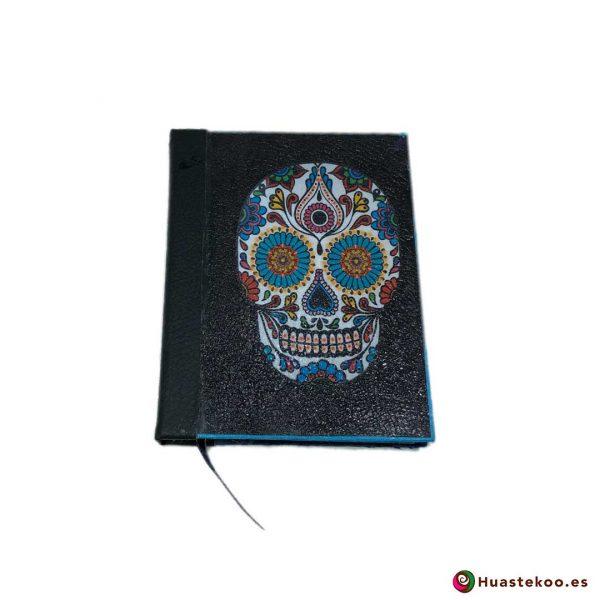 Libreta mexicana artesanal hecha a mano Calavera negra - Tienda Huastekoo España - H00103