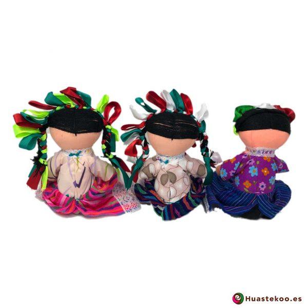 Muñecas tradicionales artesanales mexicanas - Tienda de Artesanía Huastekoo España - H00595-597 - 2