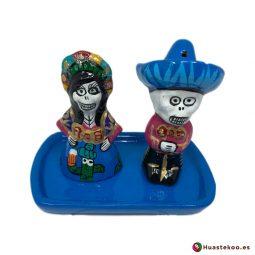 Juego de salero y pimentero de cerámica mexicana - Tienda de Artesanías y Regalos Mexicanos - Huastekoo España