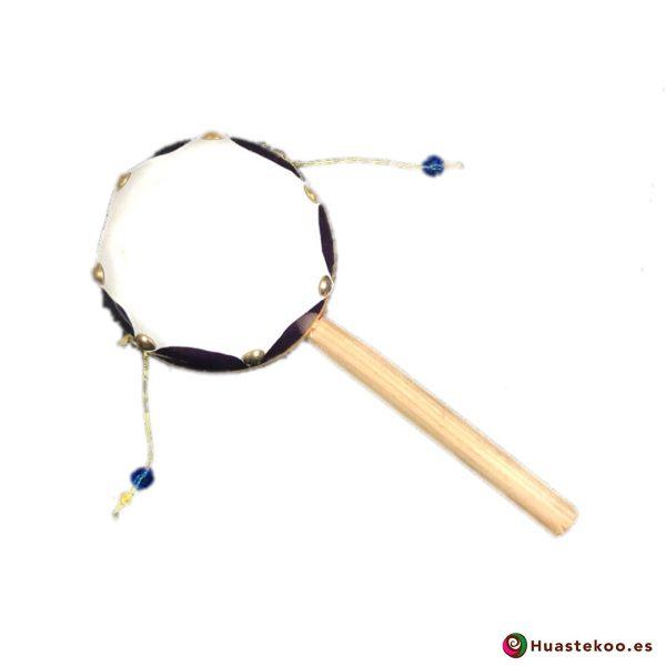 Tambor sonajero mexicano hecho a mano - Tienda de Artesanías y Regalos Mexicanos - Huastekoo.es - H00106