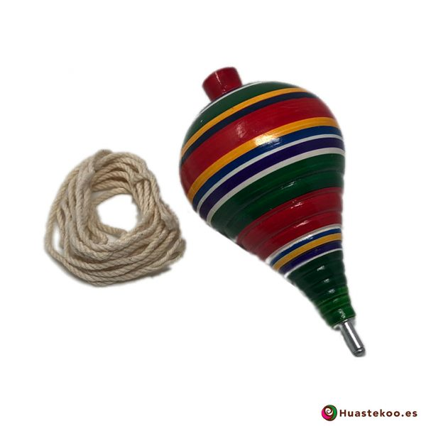 Trompo mexicano de madera hecho a mano - Tienda de Artesanías y Regalos Mexicanos - Huastekoo.es