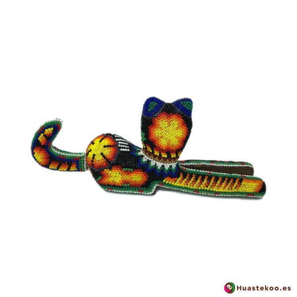 Figura decorativa de Gato Arte Huichol - Tienda Mexicana Online - Huastekoo España y Europa - H00761 - 3