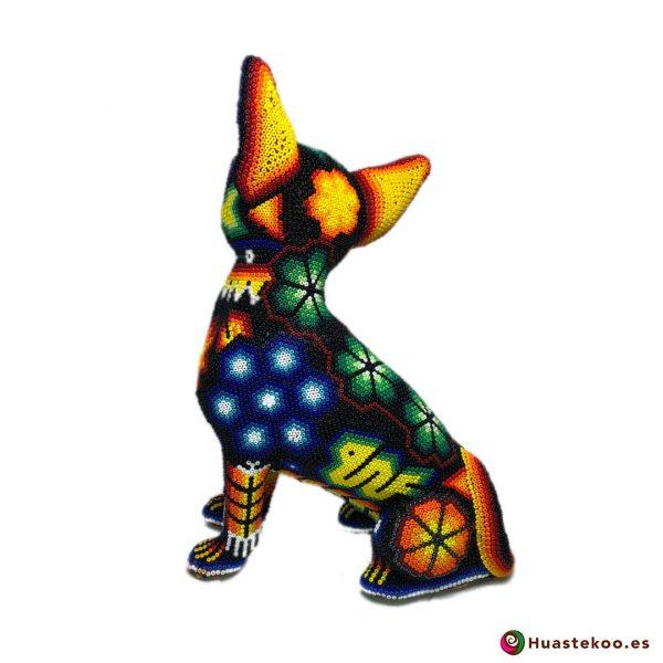 Fugura decorativa perro Chihuahua de Arte Huichol - Tienda Mexicana Online - Huastekoo España y Europa - H00560 - 3