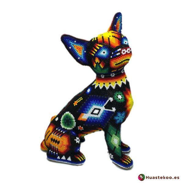 Fugura decorativa perro Chihuahua de Arte Huichol - Tienda Mexicana Online - Huastekoo España y Europa - H00560