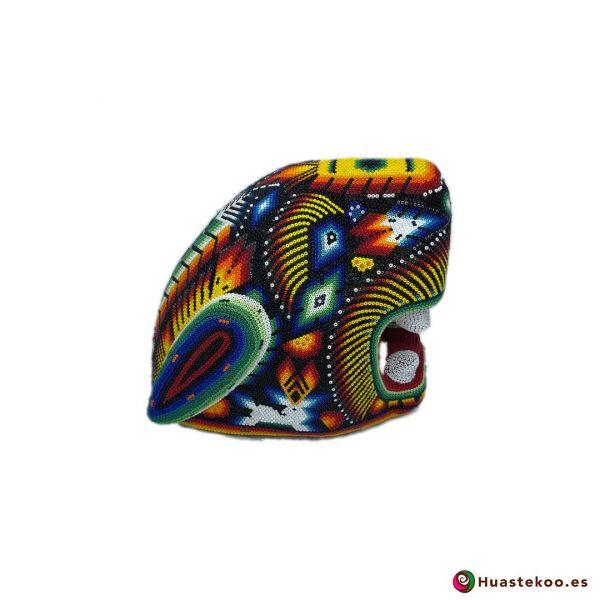 Cabeza Jaguar Arte Huichol - Tienda de Artesanía y Regalos Mexicanos - Huastekoo España y Europa - H00764 - 5