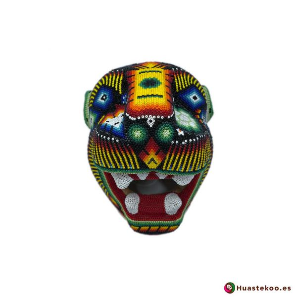 Cabeza Jaguar Arte Huichol - Tienda de Artesanía y Regalos Mexicanos - Huastekoo España y Europa - H00764