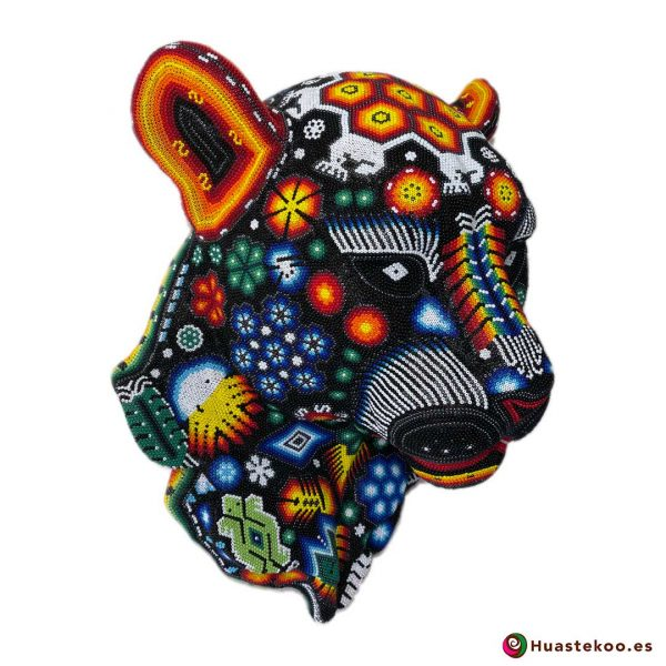 Cabeza de Pantera en Arte Huichol (Wixárika) - Tienda de Artesanía y Regalos Mexicanos - Huastekoo España y Europa - H00765 - 2