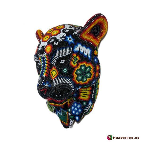 Cabeza de Pantera en Arte Huichol (Wixárika) - Tienda de Artesanía y Regalos Mexicanos - Huastekoo España y Europa - H00765 - 3