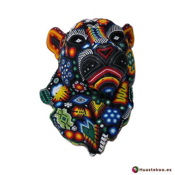 Cabeza de Pantera en Arte Huichol (Wixárika) - Tienda de Artesanía y Regalos Mexicanos - Huastekoo España y Europa - H00765 - 4