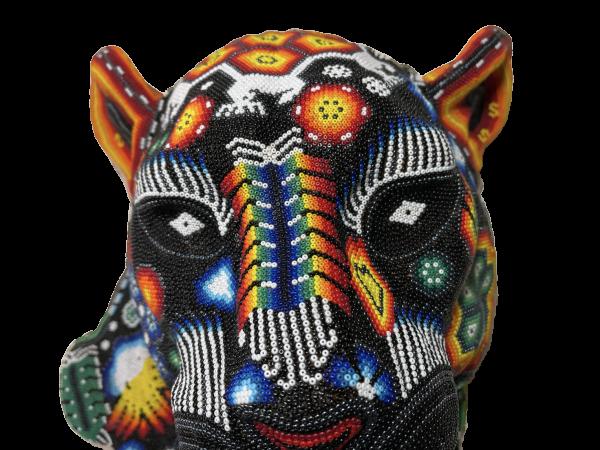 Cabeza de Pantera en Arte Huichol (Wixárika) - Tienda de Artesanía y Regalos Mexicanos - Huastekoo España y Europa - H00765 - 7
