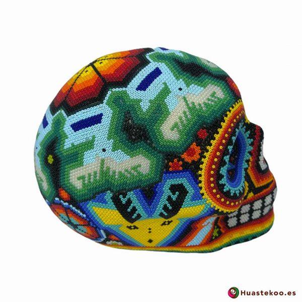 Calavera Grande en Arte Huichol de la Tienda de Regalos Mexicanos Huastekoo España y Europa - H00667 - 4