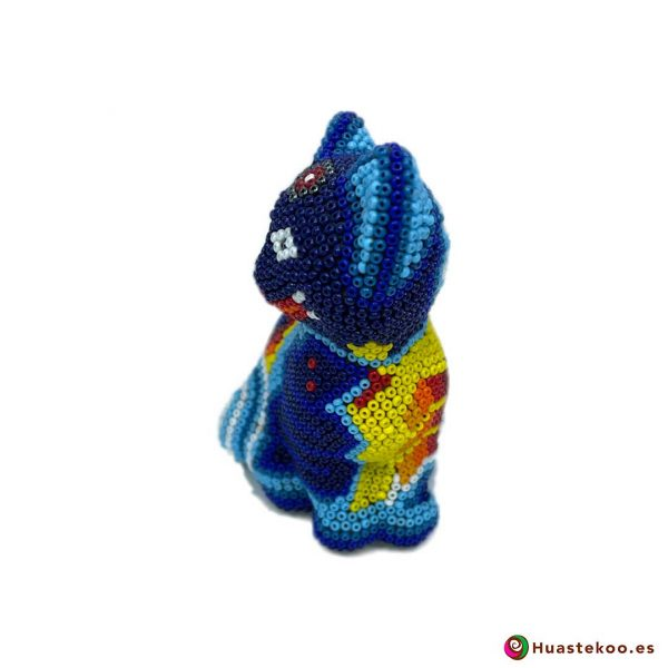 """Arte Huichol """"gato"""" - Tienda Mexicana Online - Huastekoo España y Europa - H00759 - 2"""