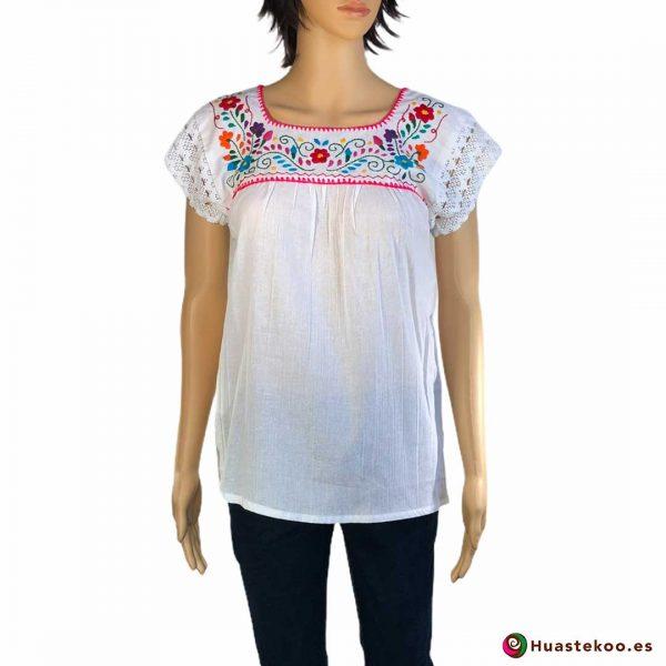 Blusa Mexicana artesanal bordada a mano de venta en la tienda online de regalos mexicanos Huastekoo España - H00123