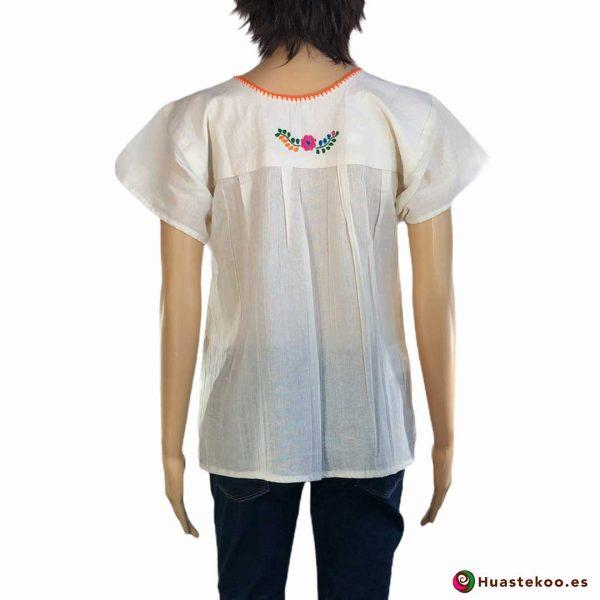 Blusa mexicana bordada a mano blanca con flores multicolor - Tienda online de regalos mexicanos Huastekoo España - H00124 -2