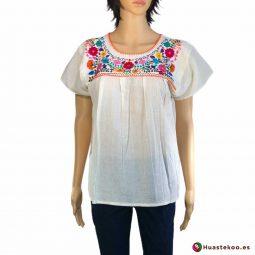 Blusa mexicana bordada a mano blanca con flores multicolor - Tienda online de regalos mexicanos Huastekoo España - H00124