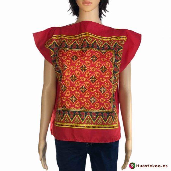Blusa mexicana paliacate (pañuelo) color rojo - Tienda de regalos mexicanos Huastekoo España - H00017