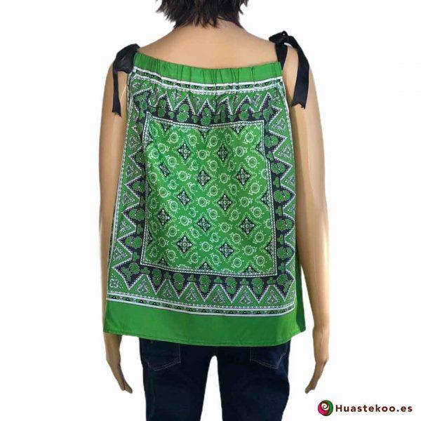 Comprar Blusa Mexicana paliacate verde a la venta en la tienda mexicana online Huastekoo España y Europa - H00016 - 2
