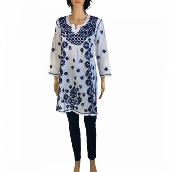 Blusón (blusa) mexicano blanco con azul marino - Tienda Online de Regalos Mexicanos Huastekoo España - H00534