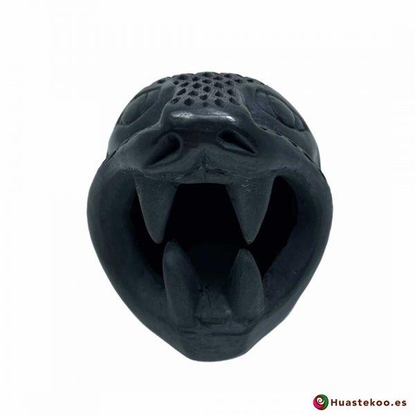 Replica Cabeza de Jaguar Pequeña hecha a mano de Cerámica de Barro negro de la Tienda Mexicana Online - Huastekoo España y Europa - H00738 - 5