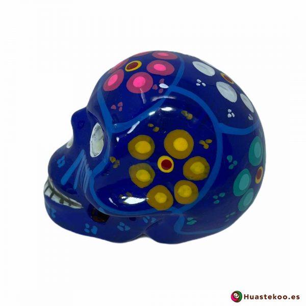 Calavera de cerámica mexicana hecha y pintada a mano de la Tienda de Regalos Mexicanos Huastekoo España - H00713 - 2