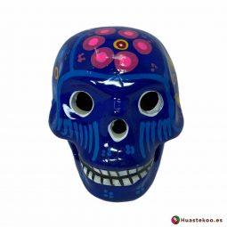 Calavera de cerámica mexicana hecha y pintada a mano de la Tienda de Regalos Mexicanos Huastekoo España - H00713