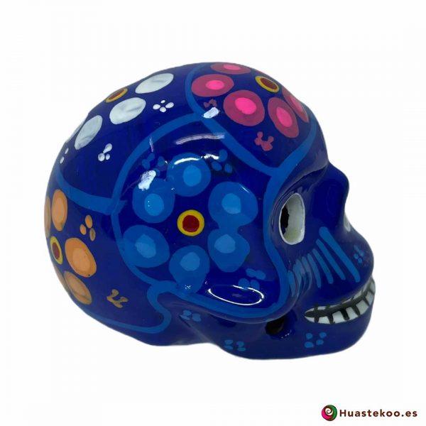 Calavera de cerámica mexicana hecha y pintada a mano de la Tienda de Regalos Mexicanos Huastekoo España - H00713 - 4