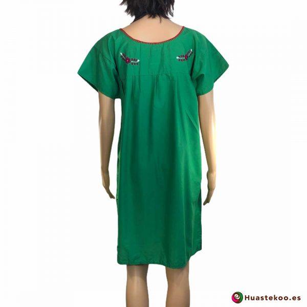 Comprar vestido mexicano verde bordado a mano a la venta en tu tienda mexicana online Huastekoo España y Europa - H00026 - 2