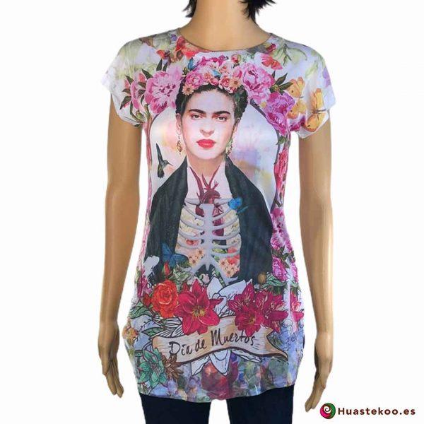 Blusa Camiseta Mexicana Fridalia H00035 - Tienda Online de Regalos Originales Mexicanos Huastekoo España