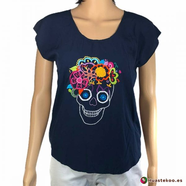 Comprar Blusa Mexicana Calavera y Flores Bordada a Mano H00219 - Tienda de Ropa Mexicana Huastekoo España