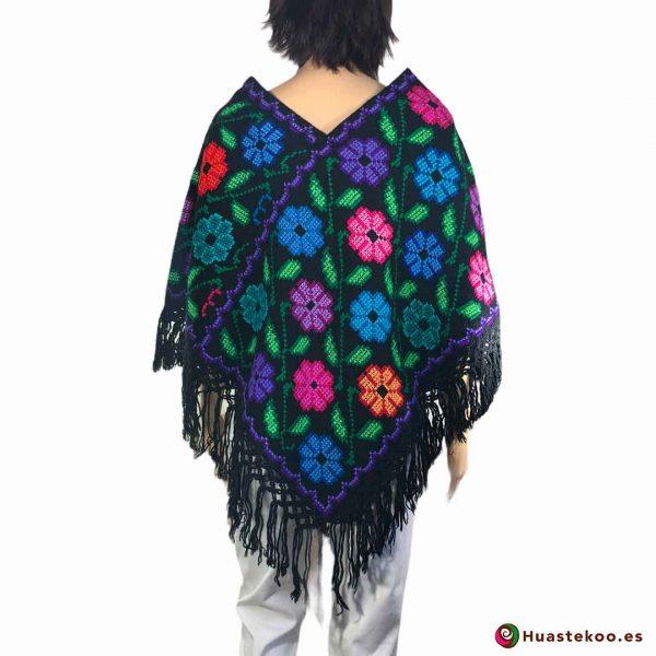 Comprar Poncho Mexicano (quexquemetl) bordado a mano H00043 a la venta en la tienda online de ropa mexicana Huastekoo España - 2