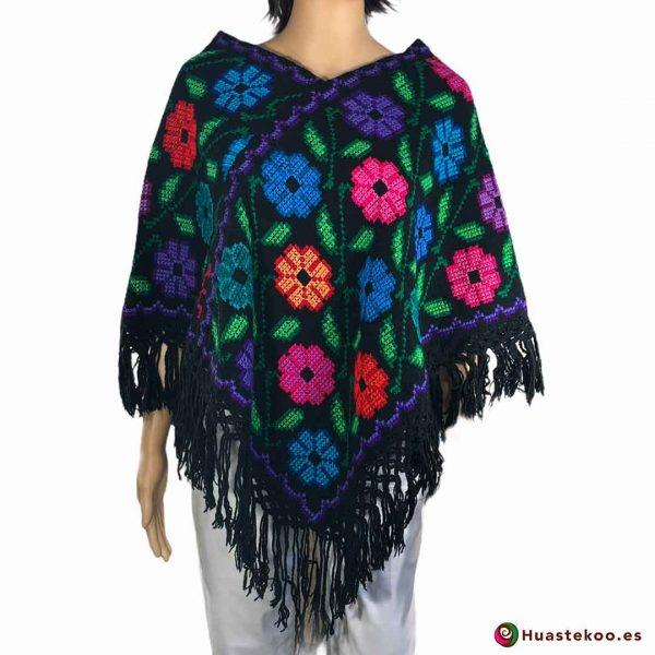 Comprar Poncho Mexicano (quexquemetl) bordado a mano H00043 a la venta en la tienda online de ropa mexicana Huastekoo España