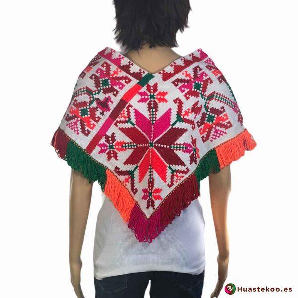 Auténtico Quexquemetl (Poncho) Mexicano Bordado a Mano H00044 a la venta en la tienda mexicana online Huastekoo España - 2