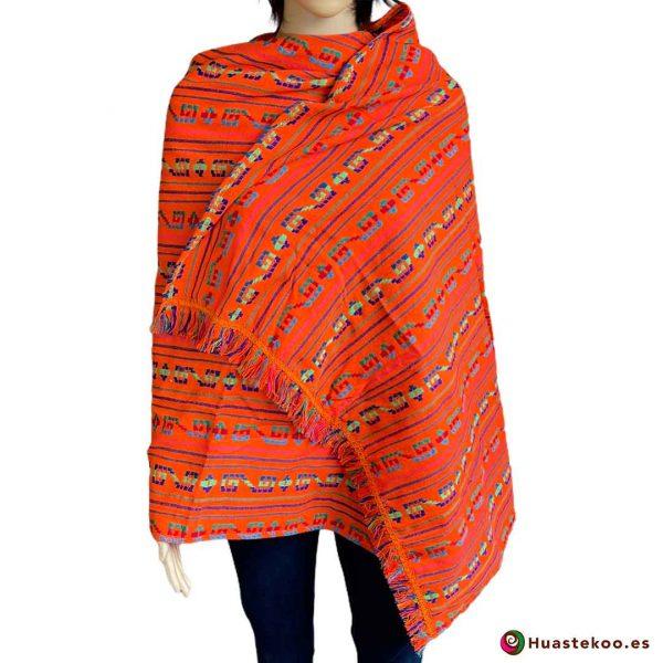 Rebozo o fular mexicano color naranja a la venta en la tienda de ropa mexicana online Huastekoo España - H00006